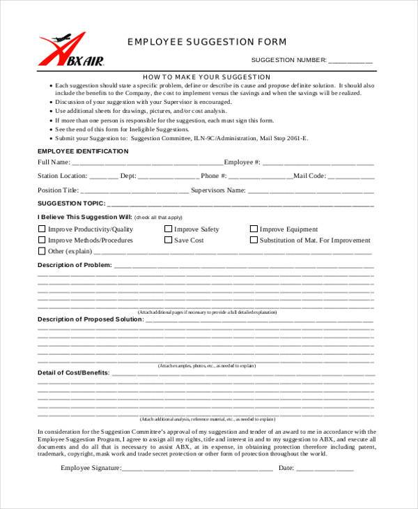Sample Employee Suggestion Forms - 7+ Free Documents in Word, PDF