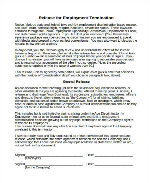Sample Employee Photo Release Form Professional resumes sample - employee termination form
