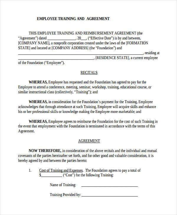 Employee Training Contract Sample  NodeCvresumeCloudUnispaceIo