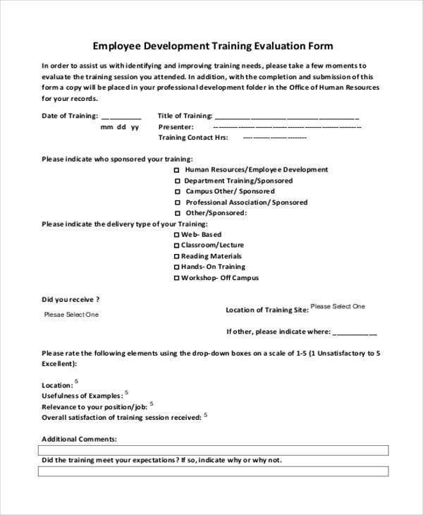Training Evaluation Form Training Program Evaluation Form Sample   Evaluation  Forms For Trainers