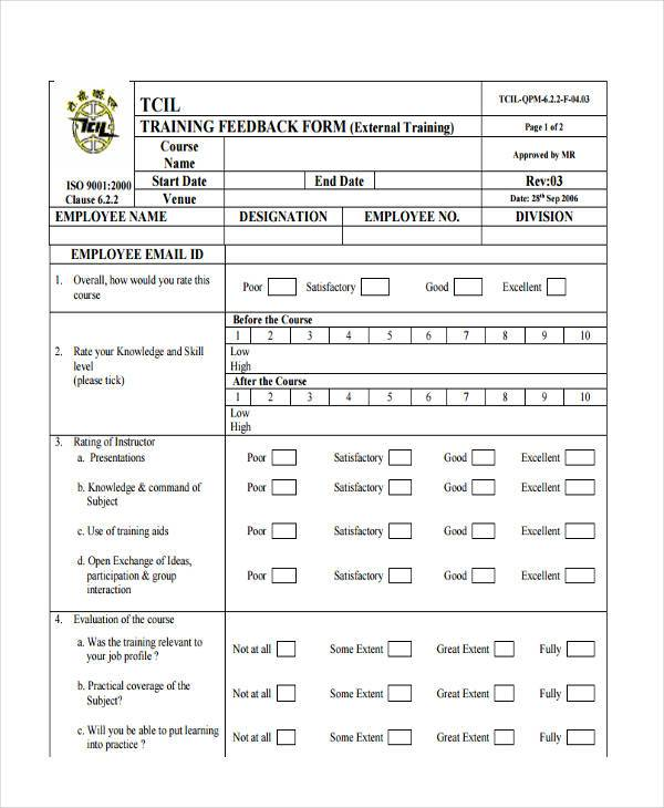Feedback Form Examples - feedback forms for employees