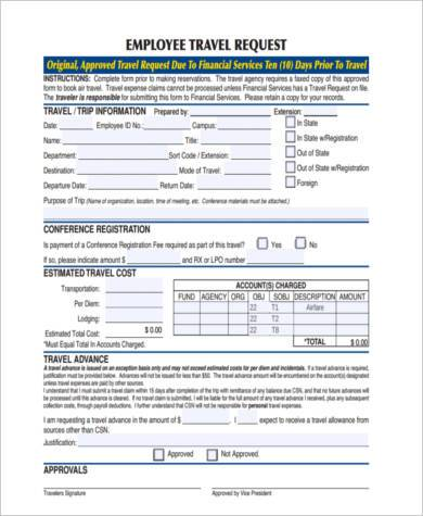 Travel Request Form Samples - 8+ Free Documents In Word - check request forms