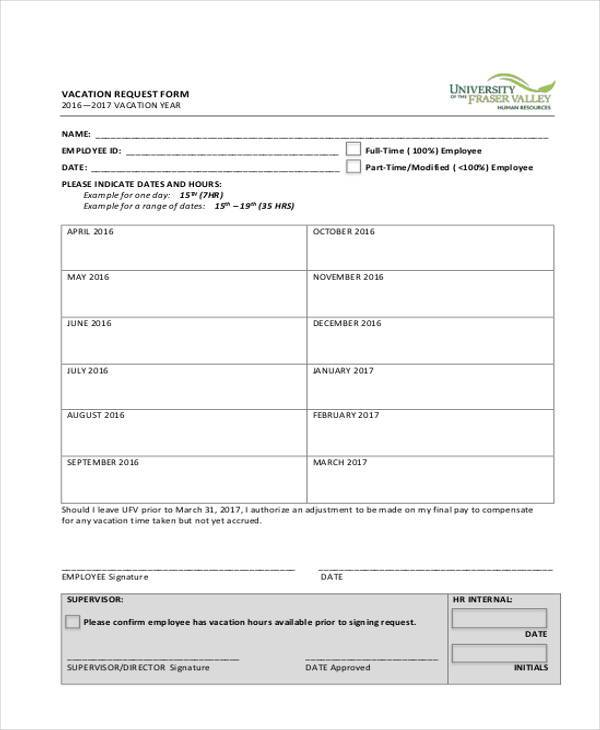 Sample Employee Vacation Request Forms - 7+ Free Documents in Word, PDF - vacation request form