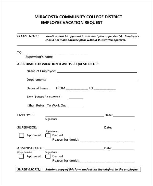 Employee Vacation Request Form | Accepting Sponsorship Letter Sample