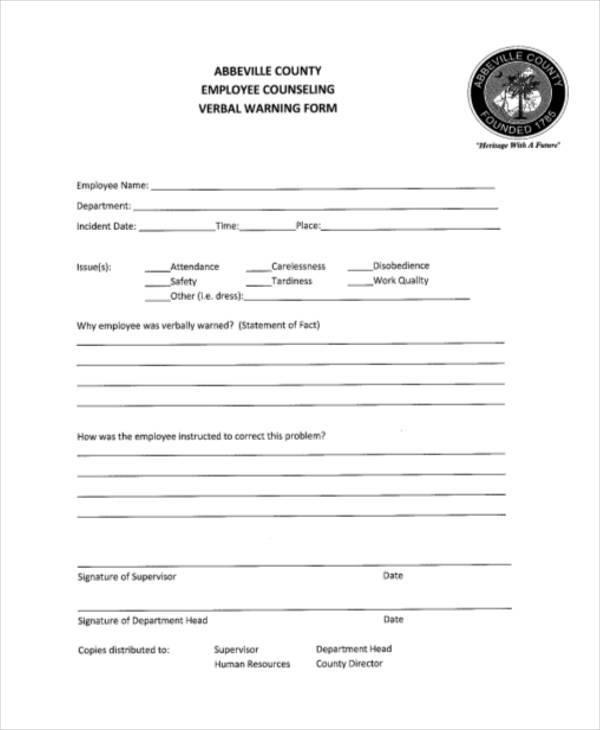 Sample Verbal Warning Template 5 Documents in PDF - inducedinfo