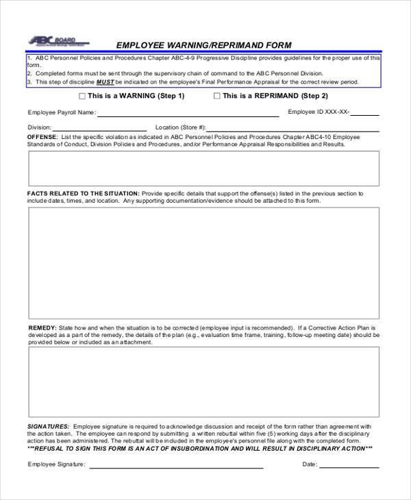 Employee Warning Form Quick Links Employee Disciplinary Warning - employee warning form