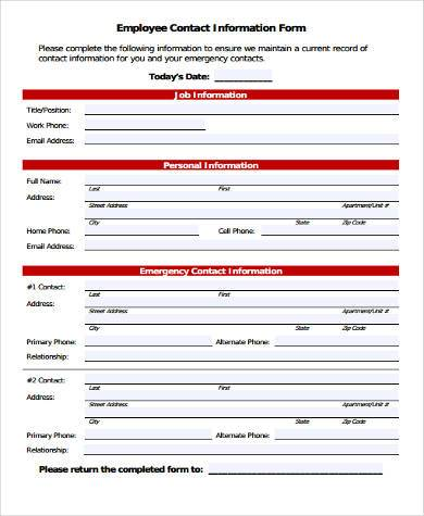 Employee Information Form Pdf  BesikEightyCo