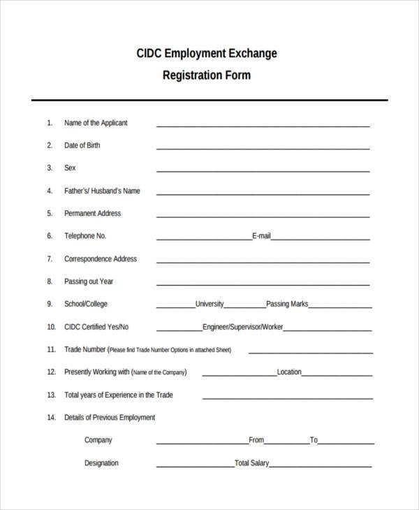 sample employee registration form - Canasbergdorfbib