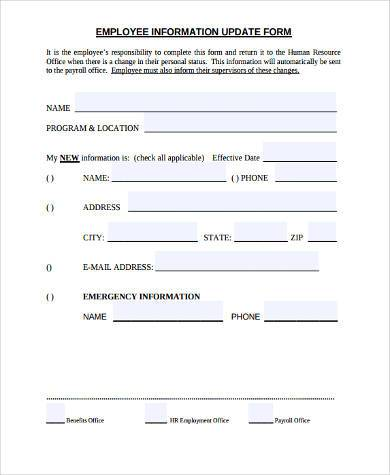 employee information form sample - Baskanidai