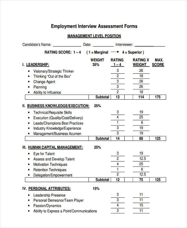 Interview Assessment Forms Competency Assessment Form Template Mock - free assessment forms