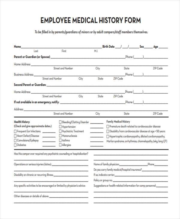 Free Employment Form Samples - 35+ Free Documents in Word, PDF - medical history forms