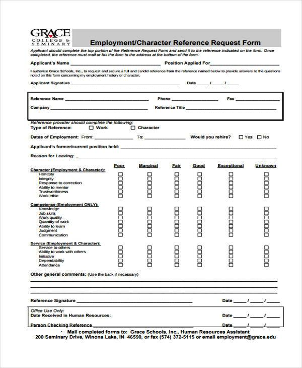 Employment Form Templates - employee reference form template