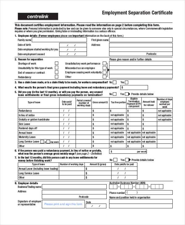 Sample Employment Separation Forms - 8+ Free Documents in PDF - employment separation certificate form