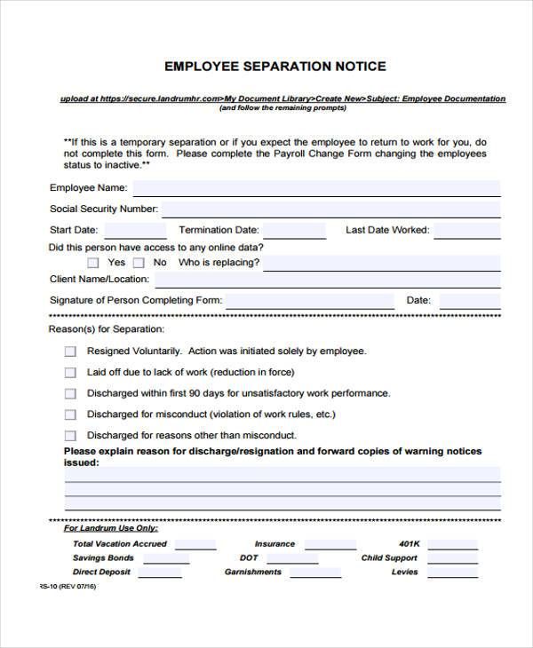 Employee Separation Letter employment separation letter sample – Contract Termination Agreement