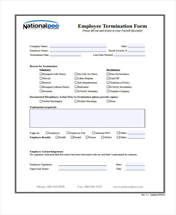 employee exit form template – Employment Termination Form Template