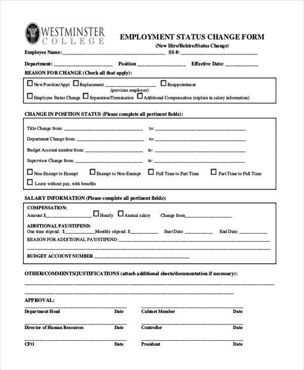 employee status form - Boatjeremyeaton - employee change form
