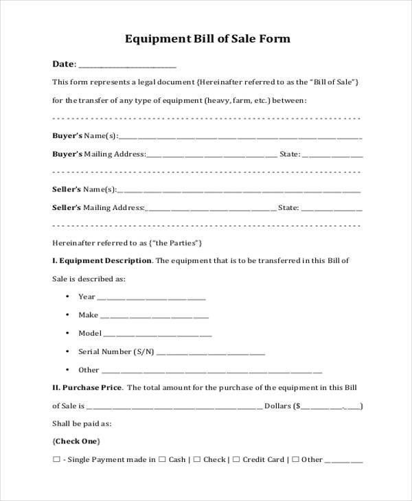 Equipment Bill of Sale Form Samples - 7+ Free Documents in Word, PDF - equipment bill of sale template