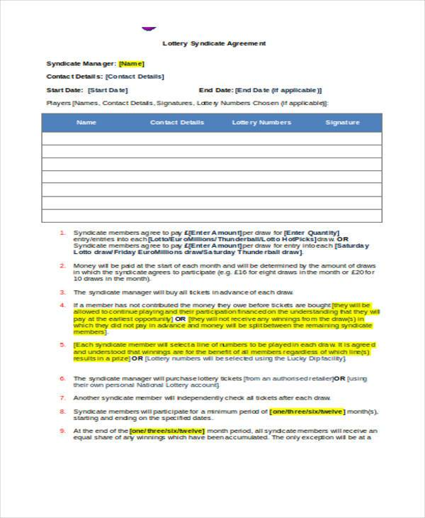 Euromillions Syndicate Agreement Template Costumepartyrun
