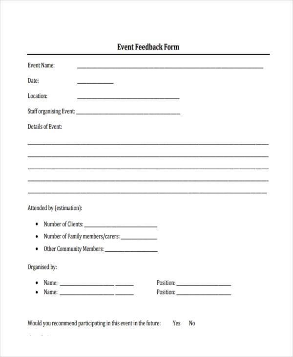 ... Event Feedback Form Samples   8+ Free Sample, Example Format Download    Format For ...