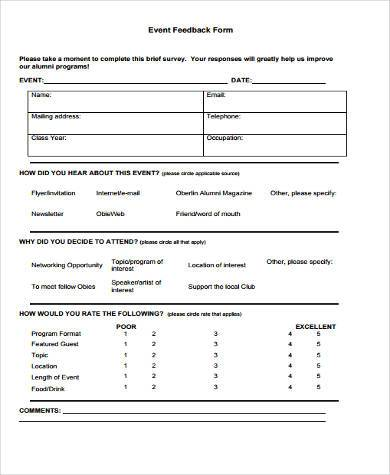 7+ Event Survey Form Samples - Free Sample, Example Format Download - event feedback form in pdf