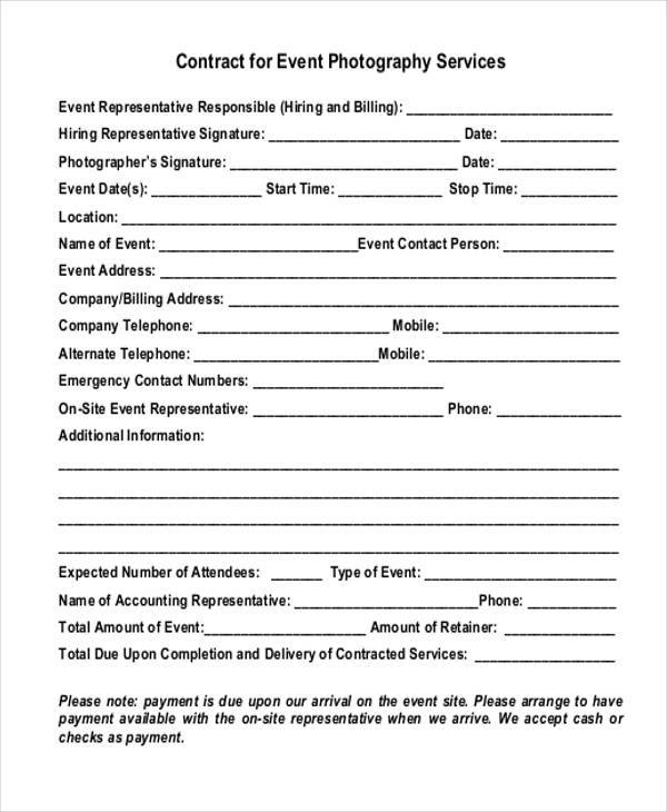 7 Event Contract Form Samples Free Sample Example Format Download  Photography Contracts