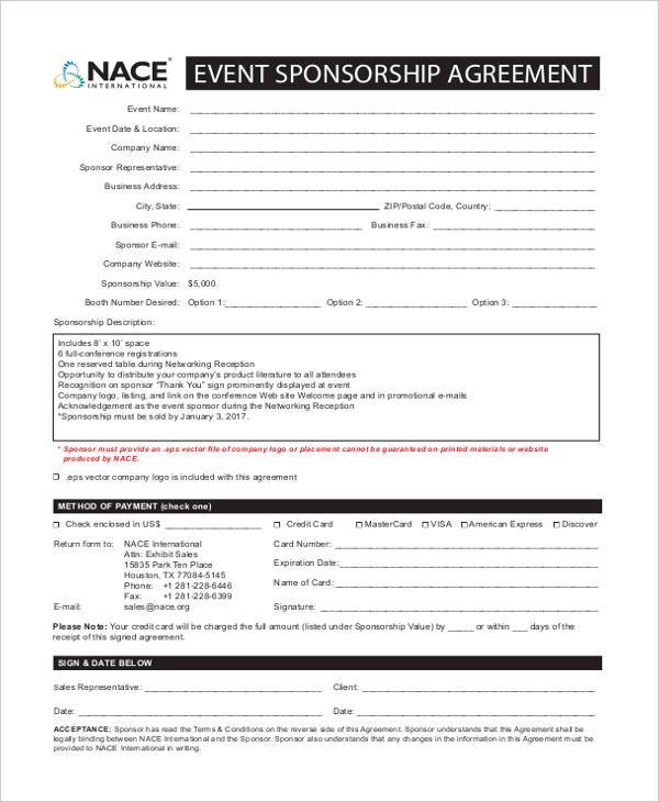 Sponsorship Agreement Form Gallery  Agreement Letter Format