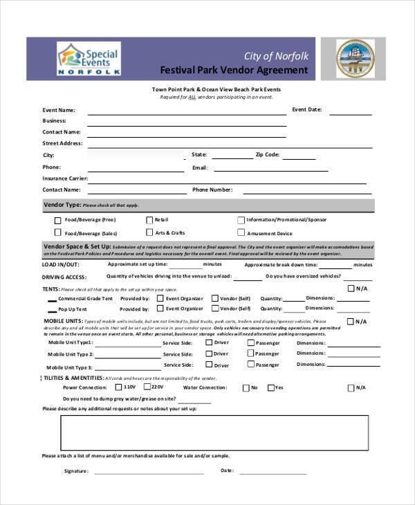 event vendor agreement
