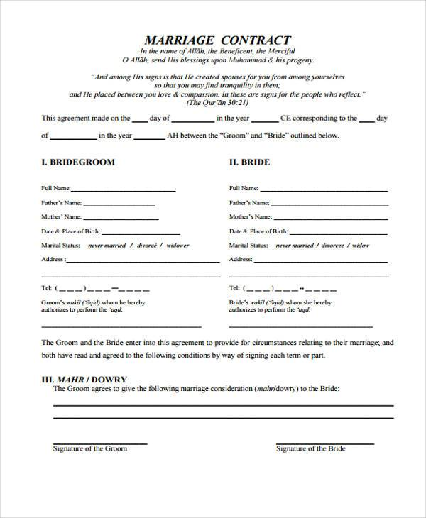 7+ Marriage Contract Form Samples - Free Sample, Example Format - marriage contract template