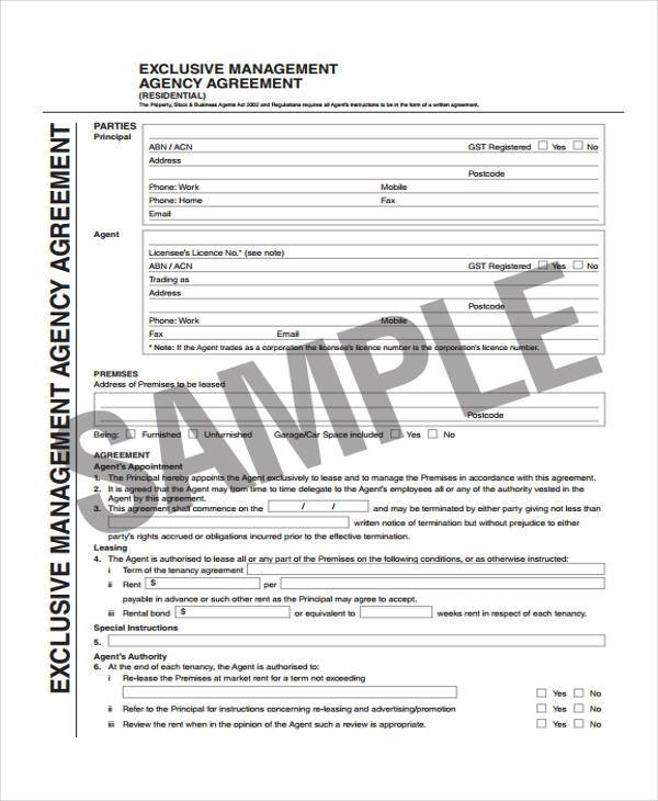 √ Business Agency Agreement Template