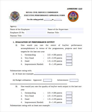Sample Executive Performance Appraisal Form - 8+ Free Documents in