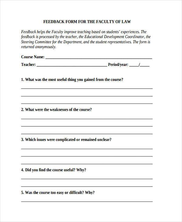 Sample Faculty Feedback Forms - 8+ Free Documents in Word, PDF - student feedback form in doc