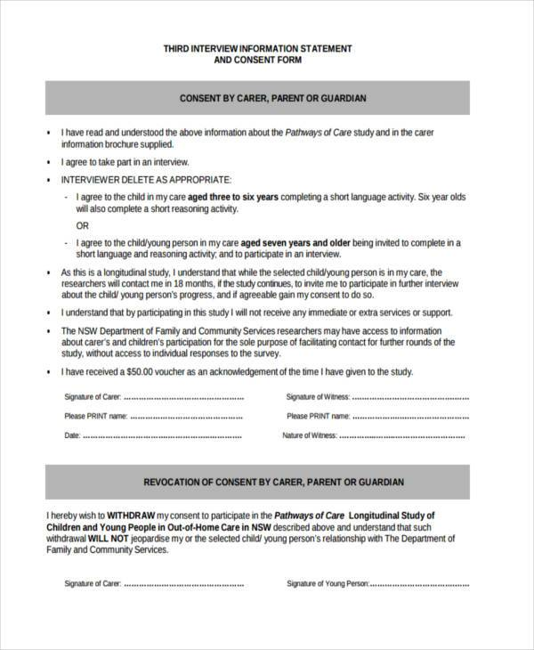 7+ Interview Consent Form Samples - Free Sample, Example Format - research consent form template