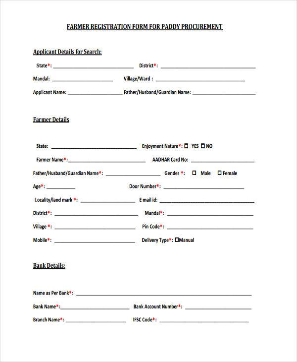 registration forms sample - Goalgoodwinmetals