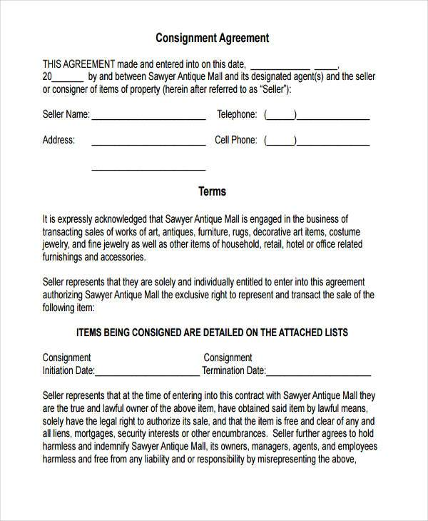 Sample Consignment Agreement Template  Consignment Agreement - consignment form template
