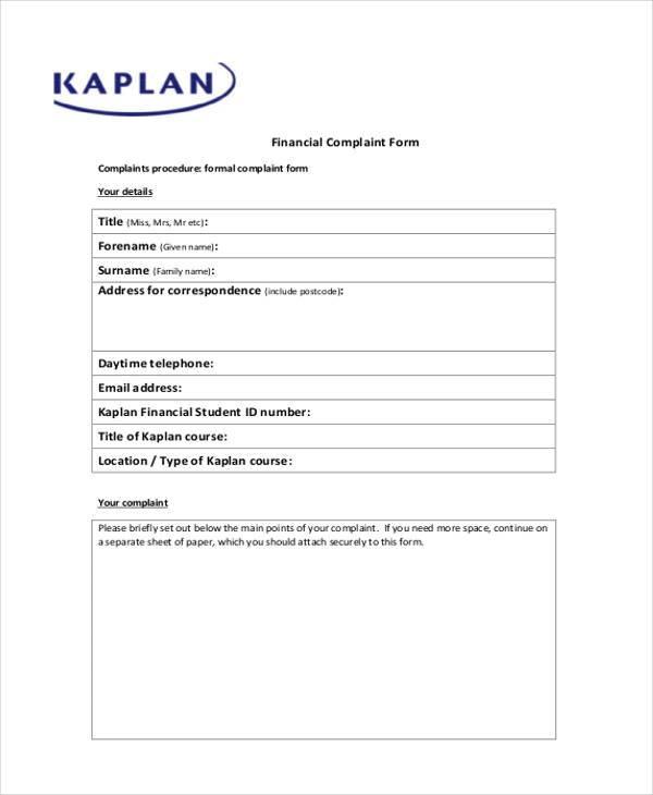 Sample Banking Ombudsman Complaint Form 6+ financial complaint form - financial ombudsman complaint form