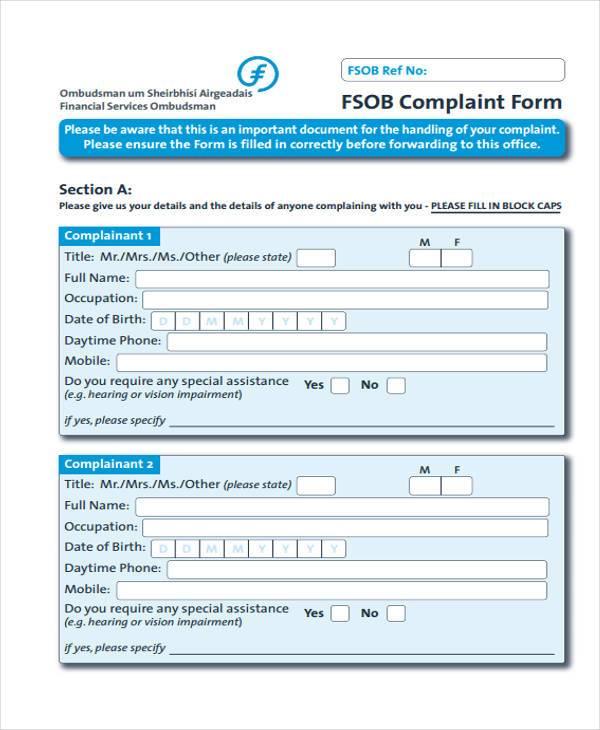 7+ Service Complaint Form Samples - Free Sample, Example Format Download - sample banking ombudsman complaint form