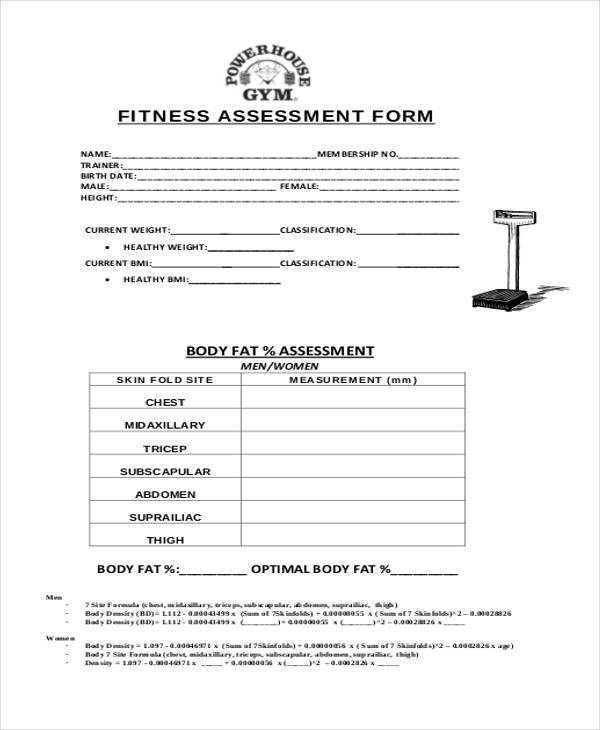 Best Fitness Assessment Form Gallery  Best Resume Examples And