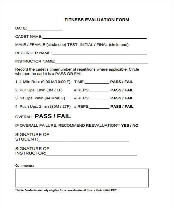 Sample Fitness Evaluation Forms - 8+ Free Documents in Word, PDF - Assessment Form In Pdf