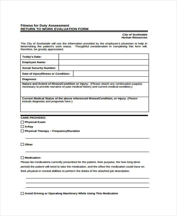 8+ Fitness Evaluation Form Sample - Free Sample, Example Format Download