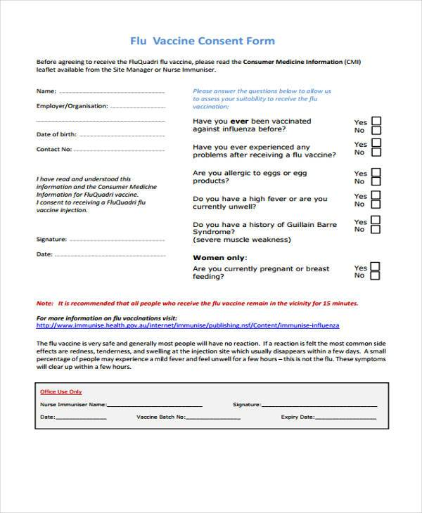 7+ Sample Vaccine Consent Forms - Free Documents in Word, PDF - vaccine consent form template
