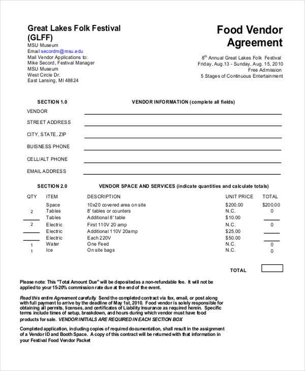 Sample Vendor Agreement Forms - 8+ Free Documents in Word, PDF