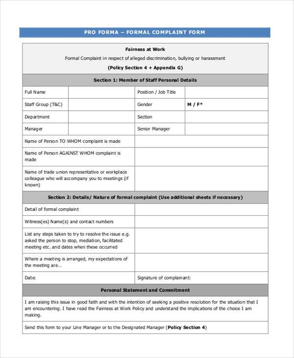 Sample Formal Complaint Forms - 7+ Free Documents in Word, PDF