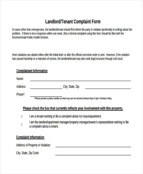 Sample Landlord Complaint Forms - 7+ Free Documents in Word, PDF