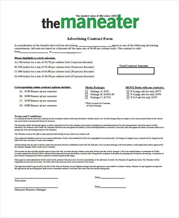 Sample Advertising Contract Forms - 8+ Free Documents in Word, PDF