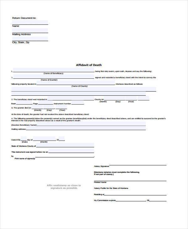 Sample Affidavit of Death Forms - 7+ Free Documents in Word, PDF - free affidavit form