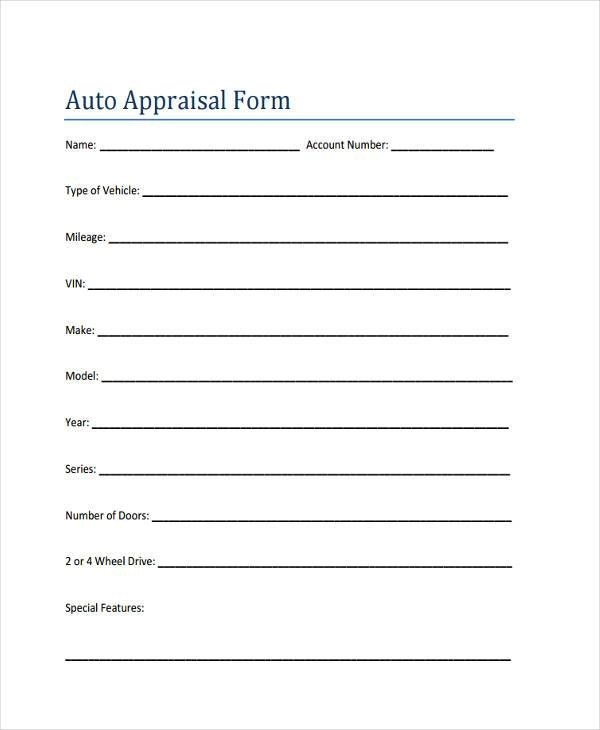 7+ Auto Appraisal Form Samples - Free Sample, Example Format Download - free appraisal forms