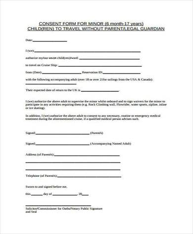 Free Child Travel Consent Form Template kicksneakers - child travel consent form usa