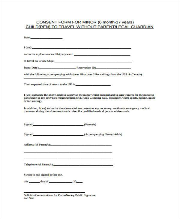 Free Child Travel Consent Form Template  OloschurchtpCom