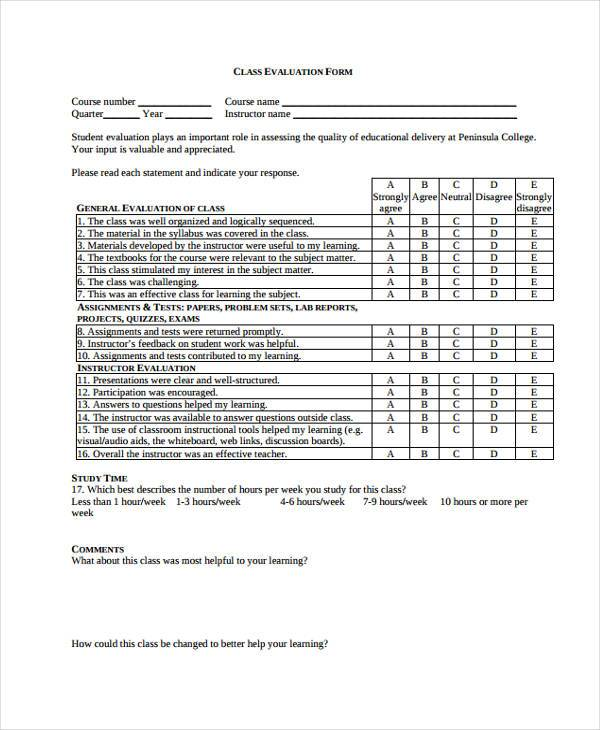 Class Evaluation Form Samples Free Sample Example Format Download - sample class evaluation