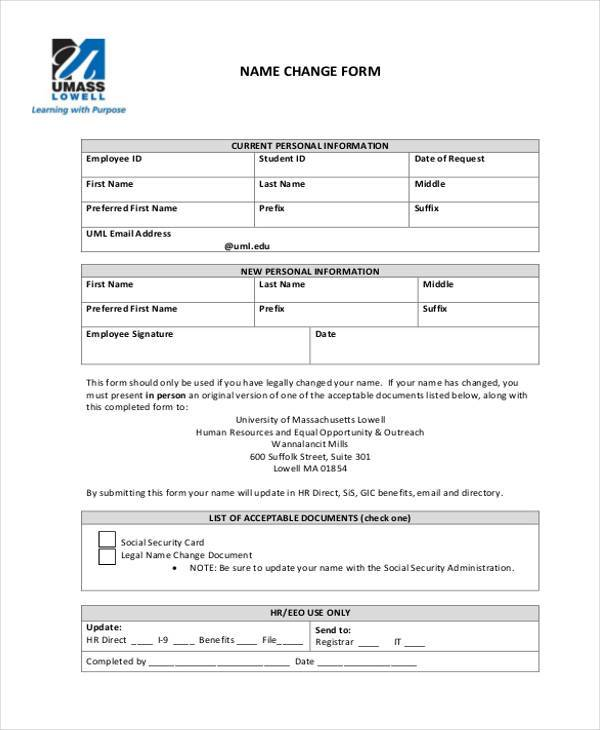 Sample Employee Name Change Forms - 7+ Free Documents in Word, PDF - employee change form